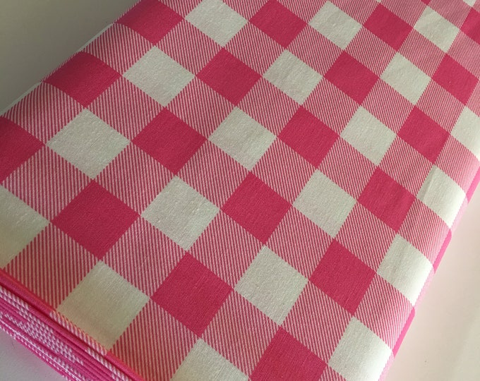Buffalo Check fabric, Pink Plaid fabric, Buffalo Check Party Decor, Quilting Sewing, 1 inch Buffalo Plaid in Fuchsia, You Choose the Cut
