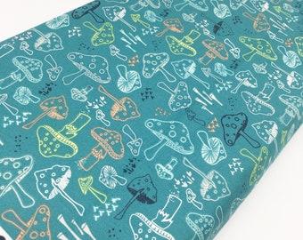 Hello Bear fabric, Mushroom fabric, I Spy Quilt fabric, Woodland Nursery, Gender Neutral, Morel Grove in Pond, Blue fabric, Choose Your Cut