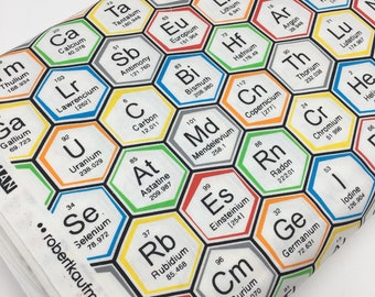 Science Fair Fabric, Surgery Cap fabric, Chemistry, Biology, Science Fabric, School, Nerd, Math Fabric, Periodic hexi, Choose the Cut