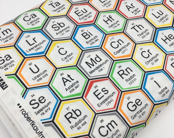 Science Fair Fabric, Surgery Cap fabric, Chemistry, Biology, Science Fabric, School, Nerd, Math Fabric, Periodic hexi, Choose the Cut