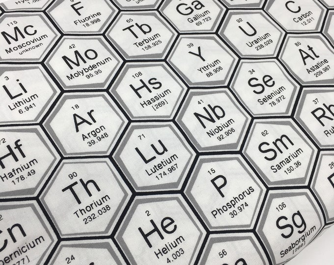 Science Fair Fabric, Surgery Cap fabric, Chemistry, Biology, Science Fabric, School, Nerd, Math Fabric, Periodic Table hexi white
