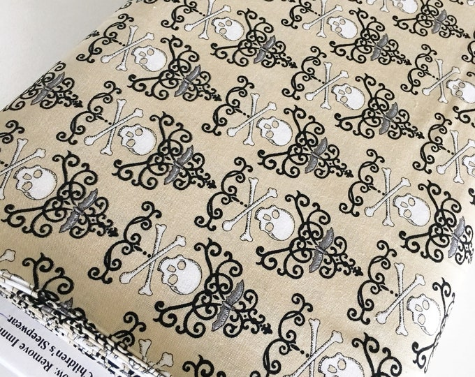 Halloween Fabric, Halloween Party Decor, Skull, Witch, Spider, Fabric by the Yard, Bewitching Skulls in Parchment, choose the cuts