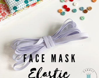 "FACE MASK elastic, Homemade Face Masks elastic, 3 YARDS white quarter inch 1/4"" elastic for your cotton reusable face masks. Free Shipping!"