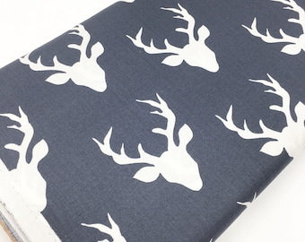 Hello Bear fabric by Bonnie Christine, Navy Ivory - Buck Forest Twilight, Fat Quarter, Half Yards or Yardage- You Choose the Cut
