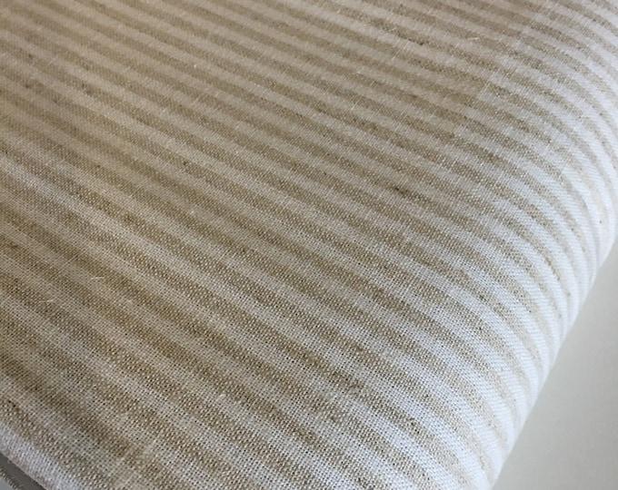 Linen Fabric, Natural Linen Blend, Essex Linen Woven Fabric, Linen Cloth Fabric, Dress fabric, 1/8 inch Stripe, Essex Wovens Stripe Natural