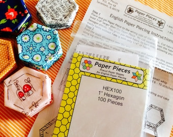 SALE DIY Precut English Paper Piecing 1 inch to 2 inch hexie pack! Paper Pieces, Paper hexies and DIY instructions, epp, Choose your size