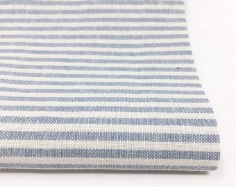 Essex Linen Classic Yarn Dyed Wovens, Linen Blend fabric,  Apparel Fabric, Dress fabric, 1/8 inch Striped Linen, Essex Woven Stripe Chambray