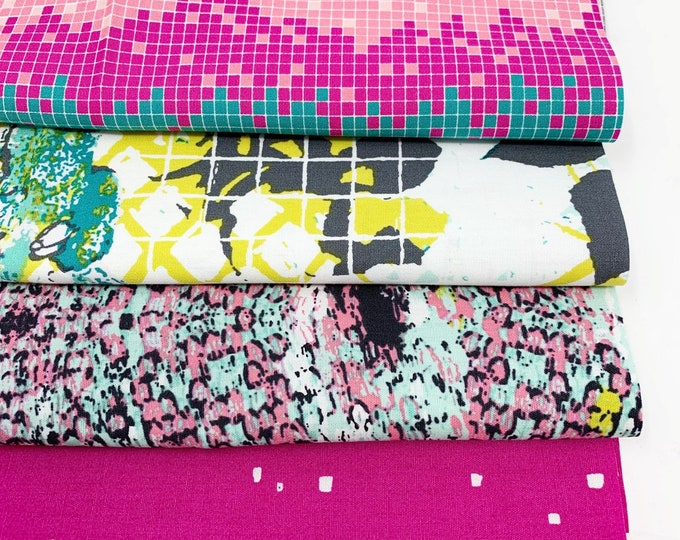 Quilt Fabric Bundle by Art Gallery Fabrics, Great for baby quilt, modern quilts and decor, Grid Fabric Bundle of 4 - Choose the Cut