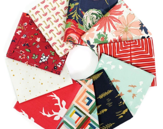 Autumn Quilting Fabric bundle for quilts or sewing or Red Navy Floral Quilt by Art Gallery Fabric- Fabric Bundle of 10