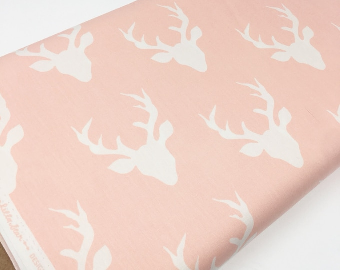 Hello Bear fabric, Baby Pink Ivory Nursery Decor, Deer Fabric, Woodland Animal, Pink Ivory,  Buck Forest Pink, Choose the cut