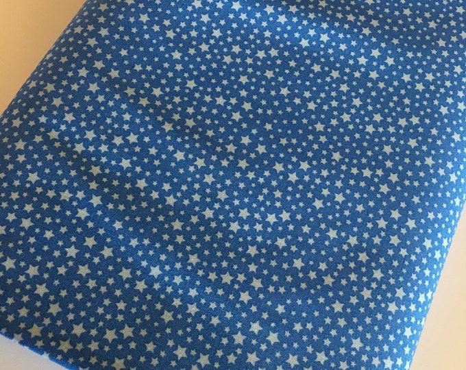 Star fabric, Girls Nursery Decor, Cute fabric, Blue Quilt, Retro Style Fabric, Robert Kaufman, Stars in Blue, Choose your cut
