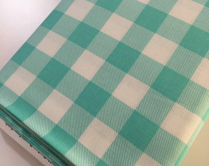 Buffalo Check fabric, Aqua White Plaid, Buffalo Check Party Decor, Quilting Sewing, 1 inch Buffalo Plaid in Aqua, Choose the Cut