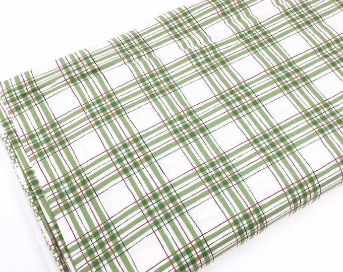 Christmas Fabric for Christmas Quilts or Crafts, Hearthside Holiday Cotton by Moda Fabrics, Green Christmas Plaid, choose the cut