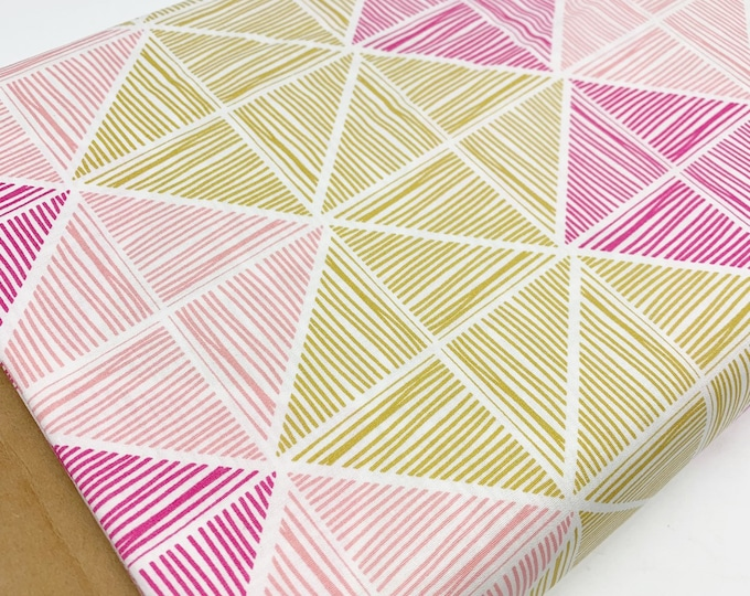 SALE fabric, pink yellow cotton fabric by the yard, Yardage for Quilting or Sewing, Discount fabric