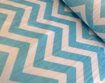 SALE Cuddle Minky Chevron Fabric by Shannon Fabrics- Chevron in Turquoise- 1 Yard or by the Yard