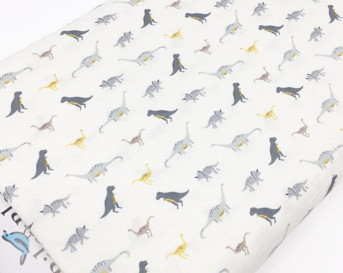 Dinosaur Fabric, Boy Quilt, Nursery Ideas, Christmas Gift, Dino Party, Dinosaurs by Riley Blake, Dino March in Ivory - Choose the cut