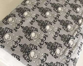 Halloween Fabric, Halloween Party Decor, Skull, Witch, Spider, Fabric by the Yard, Bewitching Skulls in Gray, choose the cuts