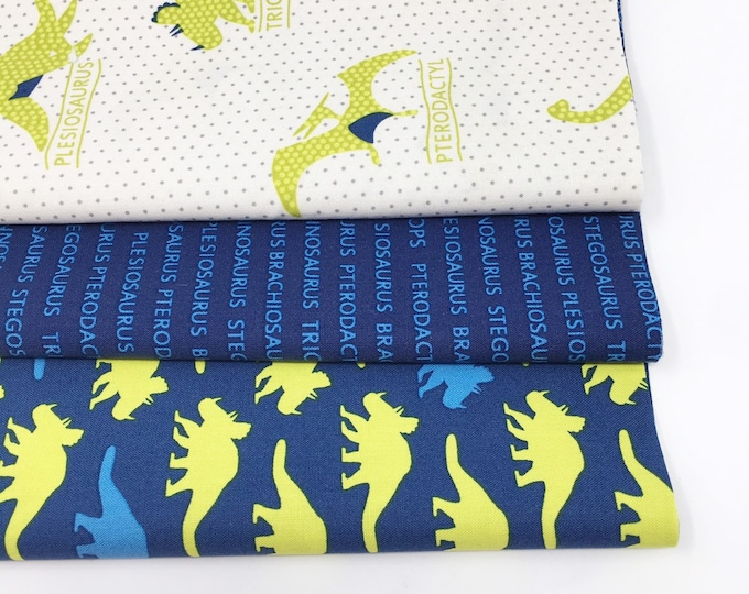 Dinosaur fabric bundle for baby quilt blue Bundle of 3- Choose the Cut