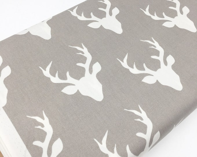 Hello Bear fabric, Deer Fabric by Bonnie Christine for Art Gallery, Gray fabric, Woodland Creatures, Antler fabric- Buck Forest in Mist