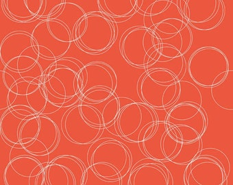 Tribal fabric, Aztec fabric, Boho fabric, Four Corners fabric by Riley Blake, Circles in Coral, Orange fabric, Choose The Cut