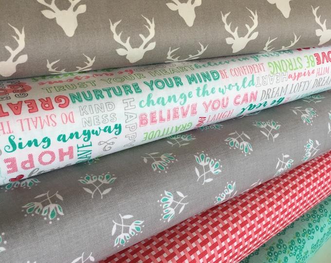 Flora and Fauna fabric bundle by Riley Blake, Quilting fabric, Floral fabric, Woodland Quilt, Fabric Bundle of 5