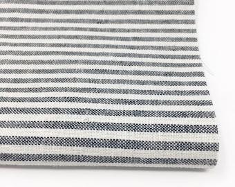 Essex Linen Classic Yarn Dyed Wovens, Linen Blend fabric,  Apparel Fabric, Dress fabric, 1/8 inch Striped Linen, Essex Wovens Stripe Black