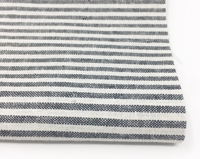 Essex Linen Classic Yarn Dyed Wovens, Linen Blend fabric,  Apparel Fabric, Dress fabric, 1/8 inch Striped Linen, Essex Wovens Stripe Black