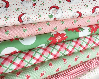 Christmas Fabric, Vintage Santa Fabric, Holiday Fabric, Christmas Quilt- Swell Christmas Bundle of 7