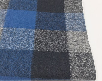 Gray Blue soft plaid flannel fabric, Flannel by the yard, by Robert Kaufman, Mammoth Flannel Blue Gray