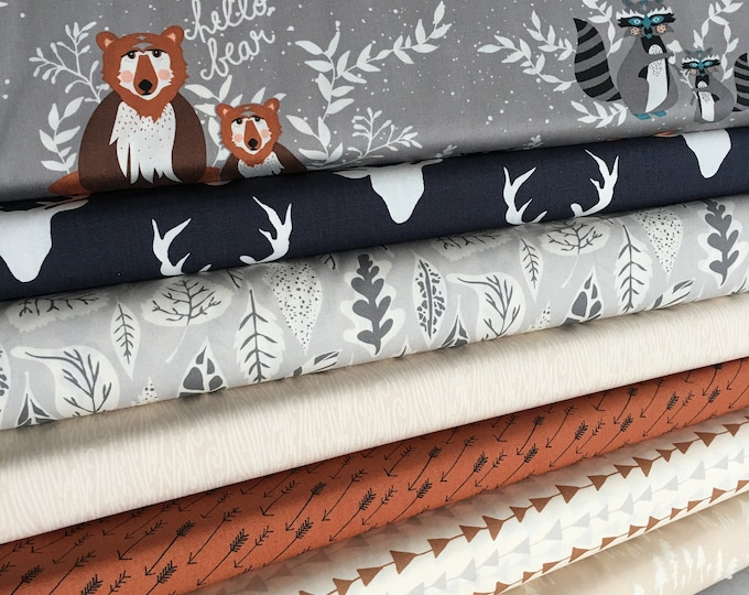 Woodland Nursery Fabric, Navy Gray Hello Bear Fabric Bundle of 8, Choose the Cut