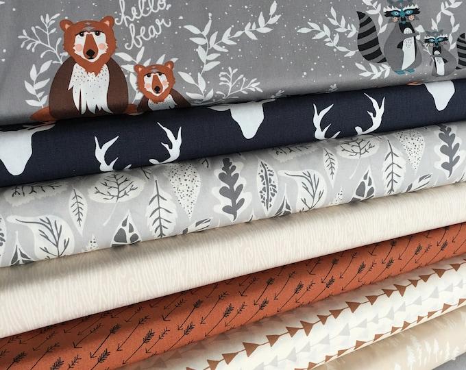 Woodland Nursery Fabric, Deer Bear Nursery Decor, Baby Shower Gift, Mountain Feather, Hello Bear Fabric Bundle of 8, Choose the Cut