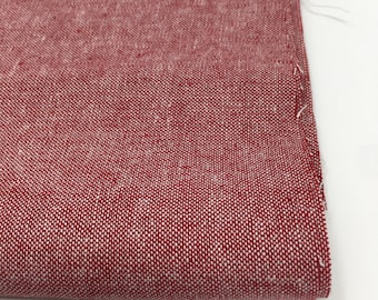 Fabric for Linen Bedding or Linen Duvet Cover,  Linen Dress Fabric, Linen Curtains or Blanket, Essex Yarn Dyed Linen in Red,  Choose the cut