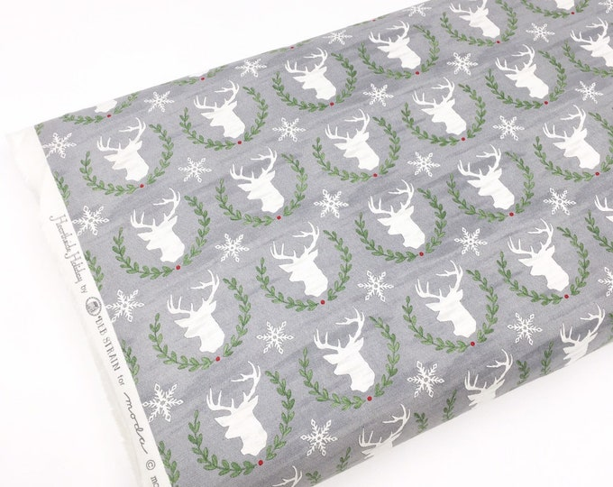 Christmas Fabric, Hearthside Holiday fabric by Moda Fabrics, Christmas Quilts, Hearthside Holiday Deer in gray, choose the cut