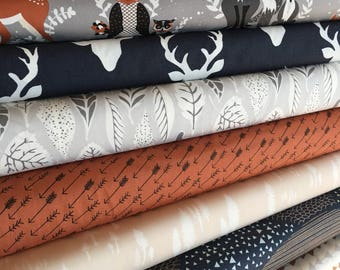 Fabric Bundle Quilt Fabric-Hello Bear by Art Gallery, Bear Quilt, Deer Bedding, Bundle of 8, Choose the Cuts