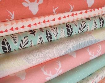 Hello Bear fabric bundle of 8, Woodland Nursey, Baby Girl, Woodland Animals, Bonnie Christine, Deer Fabric, Nature fabric, Choose The Cuts