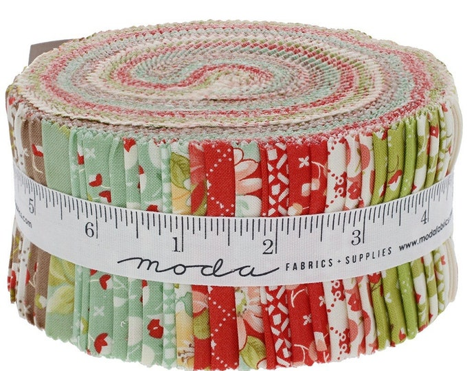 "Jelly Roll Precut Fabric by Moda, Scarlet & Sage by Fig Tree Fabrics, 100% cotton, 2.5"" strips for quilting, sewing, quilt binding"