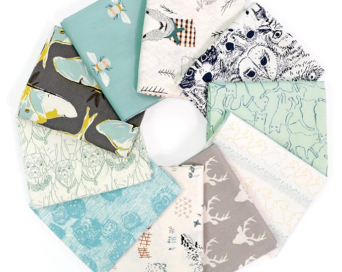 Aqua Gray Animal Fabric bundle for quilts or sewing or Woodland Nursery by Art Gallery Fabric- Fabric Bundle of 10