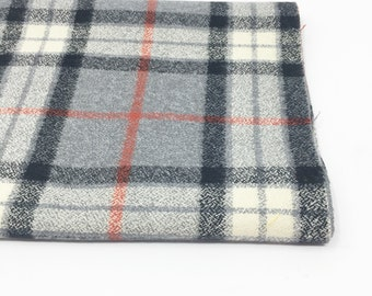 Flannel Fabric, Mammoth Plaid Flannel, Buffalo Plaid, Red Gray Flannel, Lumberjack Chic, by Robert Kaufman, Mammoth Flannel in Smoke
