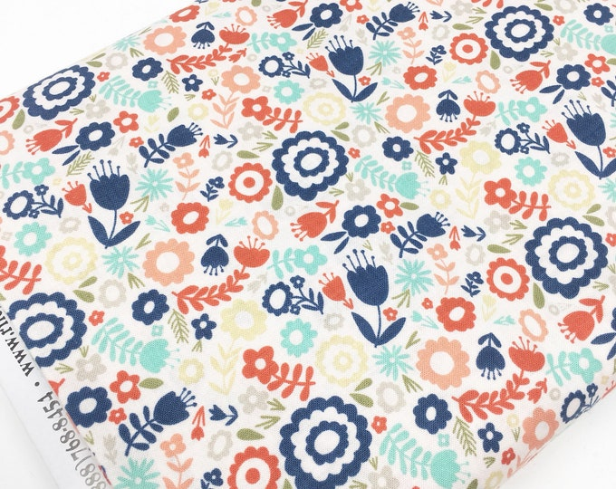 Heart and Soul Fabric, Navy Pink Decor, Valentines fabric, Quilting Crafting Fabric, Gift for Quilter, Mini Floral Blush, You choose the cut