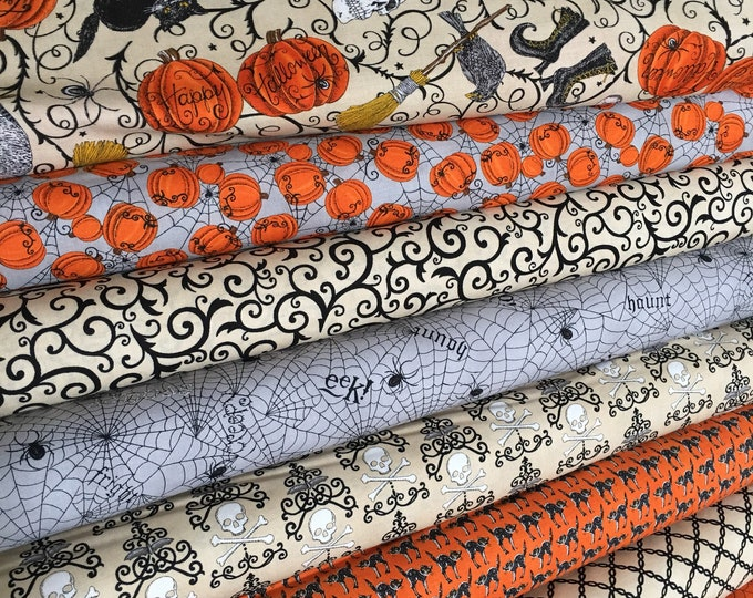 Halloween Fabric, Fabric by the Yard, Halloween Party Decor, Fat Quarter Bundle, Bewitching Fabric Bundle of 8, Choose the Cuts