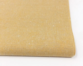 Essex Linen Fabric by the Yard, Yellow Ochre cotton linen blend, Soft and perfect for pillow covers or napkins, Robert Kaufman