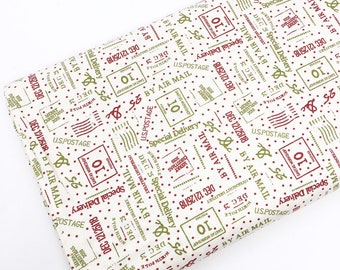 Colorful Fabric, Christmas Cotton Fabric for Christmas Quilts or Crafts, Special Delivery by Moda Fabrics, Red green fabric