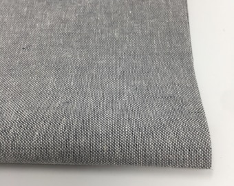 Natural Linen Fabric, Linen Cotton Fabric for Linen Curtains, Linen Apron or Home Decor,  Essex Yarn Dyed in Steel, Choose the cut