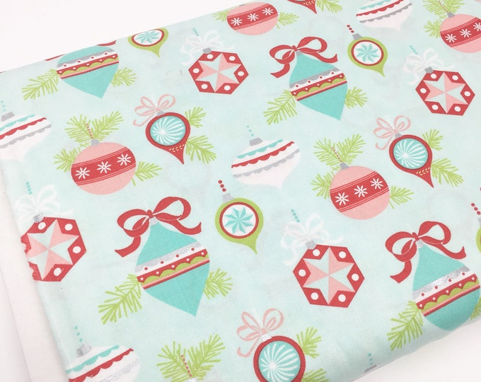 Christmas Fabric, Vintage Holiday fabric by Thimble blossoms, Christmas Quilts, Holiday Ornaments in Aqua, choose the cut