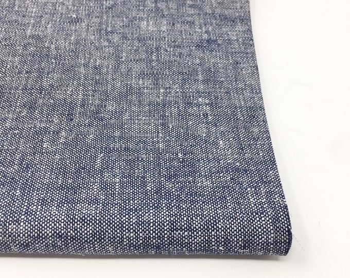 Brussels Washer Yarn Dyed Navy Linen, Soft Linen Blend fabric for clothing to napkins to pillow covers, Brussels Yarn Dyed in Denim Navy