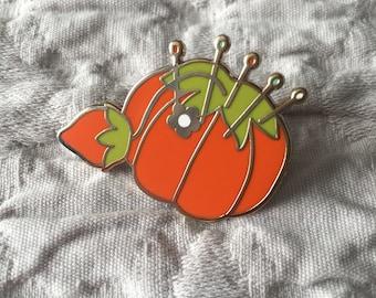 Enamel Pin, lapel pin, cute enamel pin, sewing quilting, grandmas pin cushion, enamel pins