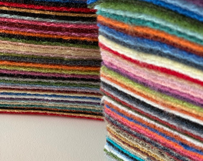 Moda Wool Scrap bag, Wool squares for Wool Appliqué, quilting, sewing, quality moda wool pieces, solids to patterns, 1/4 LB wool scraps!