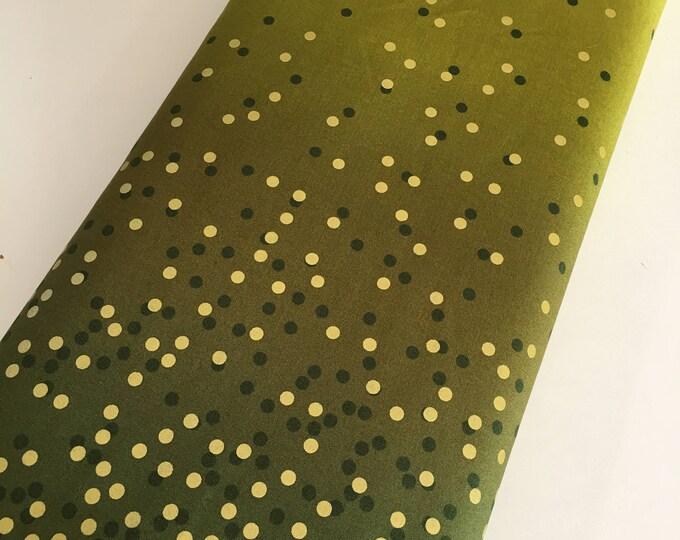 Ombre Confetti fabric by Vanessa Christenson, Gold Metallic Decor, Wedding fabric, Quilting, Ombre Confetti in Avocado Green, Choose The Cut
