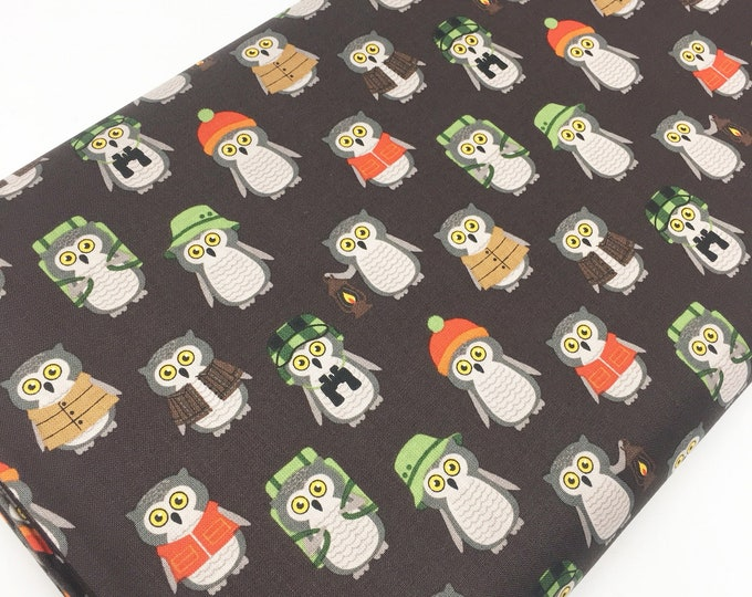 Cotton Fabric by the Yard, Quilting Fabric, Campsite Critters, Camping Outdoors, Explore, Gift for Baby, Owls in Earth, Choose the cut