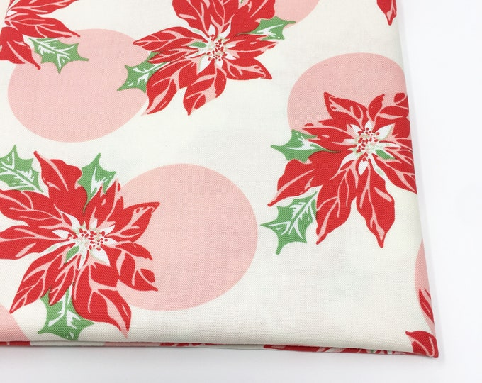 Christmas Fabric, Vintage Santa, Christmas Quilt, Quilting bundle, Vintage Quilt, Swell Christmas Fabric, Poinsettia Pink, Choose the Cut